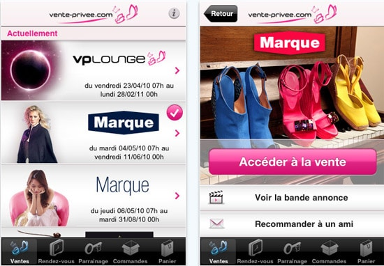 Vente lance une application iphone touchmobile - Vente privee annuler commande ...