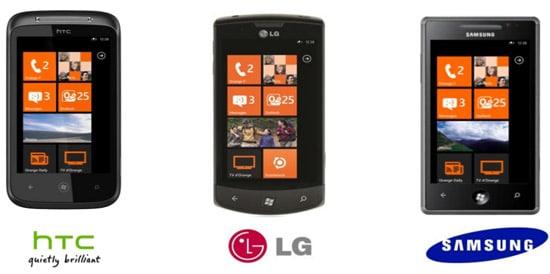 Les smartphones Windows Phone 7 par opérateur