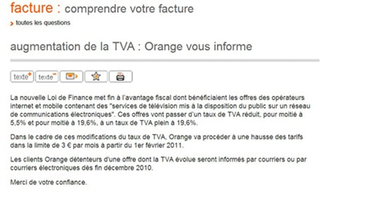 message orange pour hausse tva