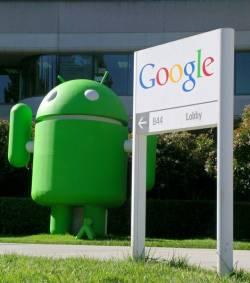 mascotte android et panneau google