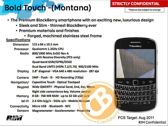 blackberry touch montana