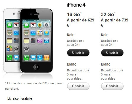 prix iphone 4 blanc
