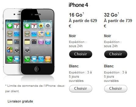 prix iphone 4 blanc