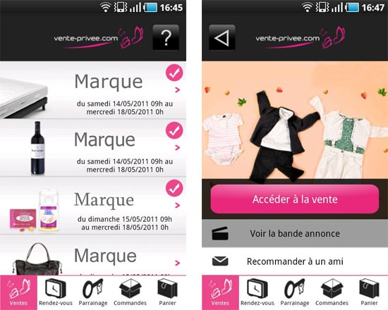 vente privee android