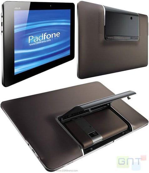 différentes vues du padfone tablette et smartphone