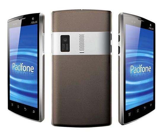 smartphone padfone de face de profil et de dos