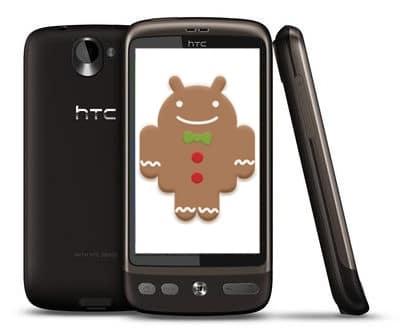 htc desire plusieurs vues avec mascotte android gingerbread
