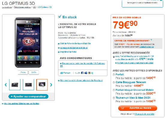 offre bouygues telecom pour lg optimus 3d