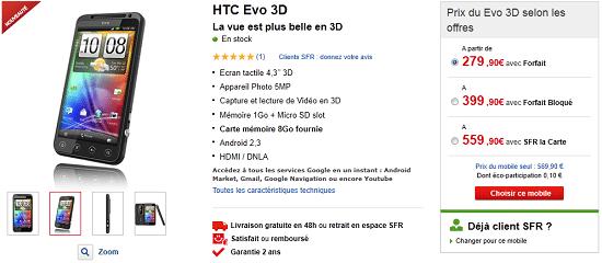 HTC evo 3d en vente chez sfr