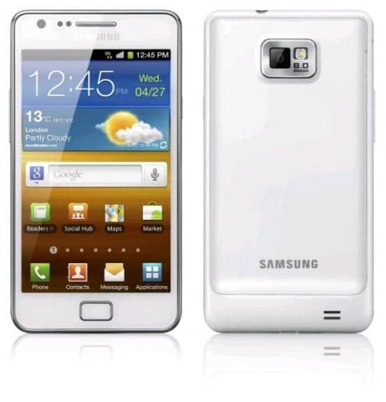 Le Samsung Galaxy S II blanc de face et de dos