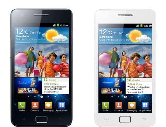 Les Samsung Galaxy S II noir et blanc côte à côte