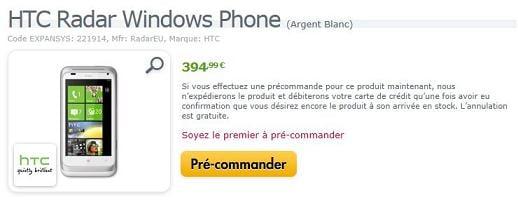 HTC Radar chez Expansys