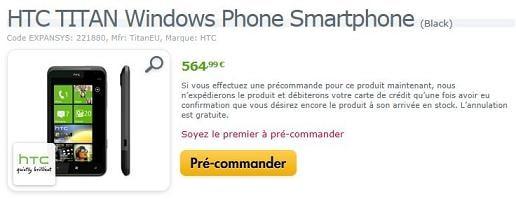 HTC Titan chez Expansys
