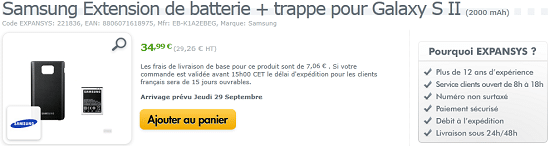 extension batterie chez expansys