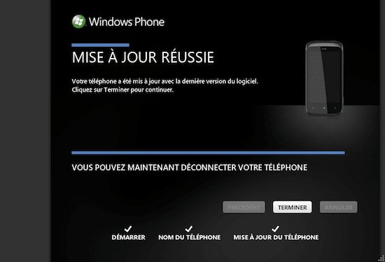 Mise à Jour Windows Phone 7 7.10.7740 Zune