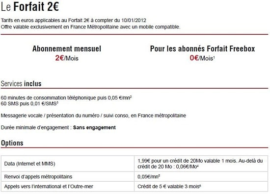 Forfait Free 2 euros détails