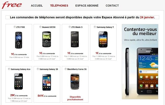 Mobiles disponibles Free Mobile