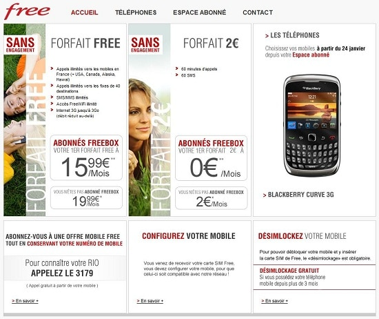 Page Accueil Free Mobile