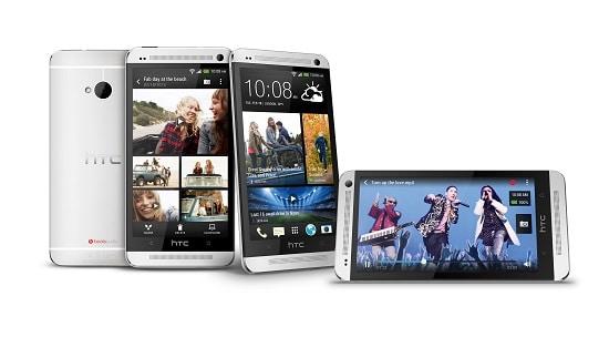 HTC One Argent sous plusieurs vues d'écran
