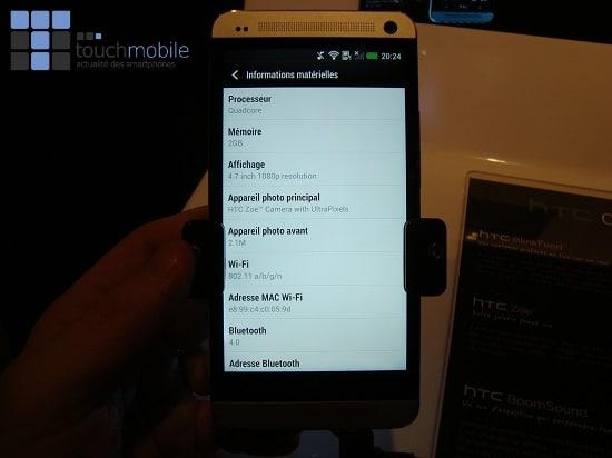Ecran caractéristiques HTC One
